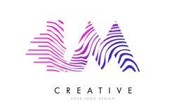 IM I M Zebra Lines Letter Logo Design mit magentaroten Farben Lizenzfreie Stockbilder