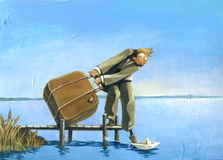 Im leaving. A man is embarking on a paper boat on a small lake pier Royalty Free Stock Images