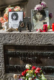Im Morrison-Grab in Pere-Lachaisekirchhof, Paris Lizenzfreies Stockbild