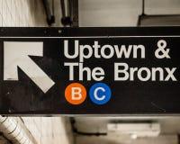 Im Norden und der Bronx unterzeichnen Sie herein eine U-Bahnstation in Manhattan, New York City stockbild