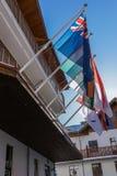 Im olympischen Dorf von Rosa Khutor, mit allen Staatsflaggen, Rosa Khutor, Sochi Lizenzfreies Stockfoto