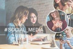 Im rechten Teil des Bildes gibt es runde Ikonen mit Bild von Mädchen mit Smartphones Lizenzfreies Stockbild