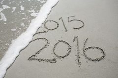 2016 im Sand am Strand Stockfotografie