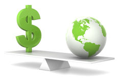 Im Schwerpunkt - Dollar und Erde Stockbild