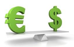 Im Schwerpunkt - Euro und Dollar Lizenzfreies Stockfoto