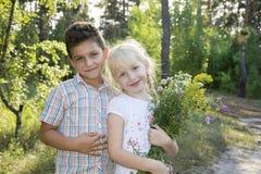 Im Sommer im Wald, umarmte ein kleiner Junge das Mädchen und das gav Stockfoto