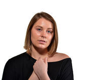 Im sorry. Young girl with a sad expession stock photo