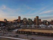 Im Stadtzentrum gelegene Baltimore-Skyline vom Bundeshügel Lizenzfreie Stockbilder