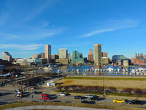 Im Stadtzentrum gelegene Baltimore-Skyline vom Bundeshügel Lizenzfreies Stockfoto