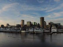 Im Stadtzentrum gelegene Baltimore-Skyline vom inneren Hafen Lizenzfreies Stockbild