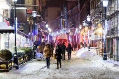 Im Stadtzentrum gelegene Bukarest-Stadt nachts während des starken Blizzard-Schnee-Sturms Lizenzfreie Stockbilder