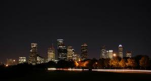 Im Stadtzentrum gelegene Houston-Nacht Pano Lizenzfreies Stockbild
