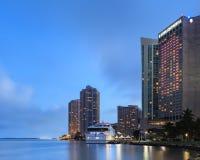 Im Stadtzentrum gelegene Miami-Ufergegend Stockbild