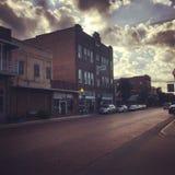 Im Stadtzentrum gelegene nacogdoches bei Sonnenuntergang Lizenzfreies Stockfoto