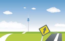 Im Stadtzentrum gelegene Skyline im Hintergrund Lizenzfreies Stockfoto