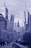 Im Stadtzentrum gelegene Skyline Melbournes Stockfotos