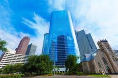 Im Stadtzentrum gelegene Smith St Skyline Texas US Houstons lizenzfreies stockbild