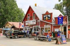 Im Stadtzentrum gelegene Talkeetna Shops Alaskas Stockbild
