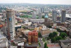 Im Stadtzentrum gelegene Vancouver-Luftaufnahme stockbilder