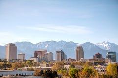 Im Stadtzentrum gelegener Überblick Salt Lake Citys Stockbilder