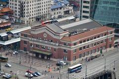 Im Stadtzentrum gelegener Busbahnhof, Seattle, Washington Lizenzfreie Stockbilder