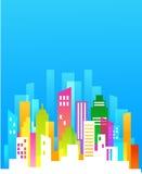Im Stadtzentrum gelegener Hintergrund mit blauem Himmel Lizenzfreies Stockbild