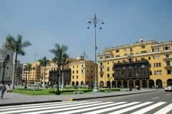 Im Stadtzentrum gelegener Lima Peru mit Kolonialbauten an einem sonnigen Tag Lizenzfreie Stockbilder