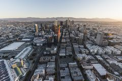 Im Stadtzentrum gelegener Morgen Vogelperspektive-Los Angeless Kalifornien Stockfotografie