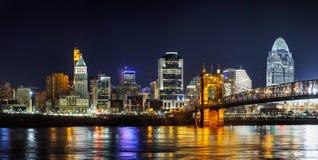 Im Stadtzentrum gelegener panoramischer Überblick Cincinnatis Lizenzfreies Stockbild