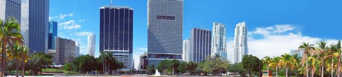 Im Stadtzentrum gelegener Skylinepanoramablick Miamis Lizenzfreies Stockbild