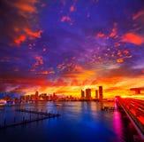 Im Stadtzentrum gelegener Skylinesonnenuntergang Florida US Miamis Stockbilder