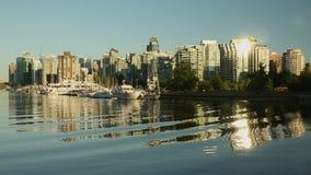 Im Stadtzentrum gelegener Vancouver-Abend-Kohlen-Hafen Stockbild