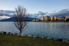 Im Stadtzentrum gelegener Vancouver-Sonnenuntergang vom Ausrüstungs-Punkt Stockfoto