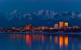 Im Stadtzentrum gelegenes Anchorage Lizenzfreies Stockfoto