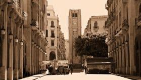 Im Stadtzentrum gelegenes Beirut im Sepia Stockfotos