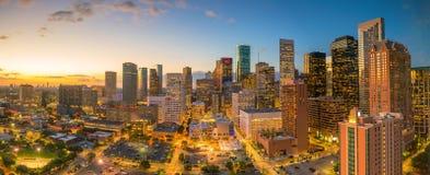 Im Stadtzentrum gelegenes Houston Skyline Stockbild