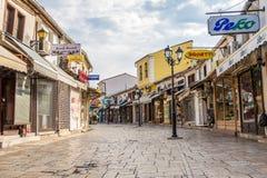 Im Straßen alten Basar der Stadt Skopje stockfotos