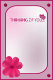 Im thinking of you rose greeting card. With flower Stock Images