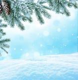 Im untereren Teil der snow-covered Hügel mit Schattenbildern der gezierten Bäume Stockbilder