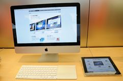 Imac display in Apple store Stock Image