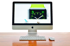IMac with new iWatch on display Stock Images