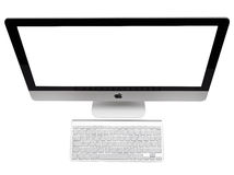 IMac. UFA, RUSSIA - MAY 7 , 2014: Photo of new iMac, With OS X Yosemite. iMac - monoblock series of personal computers, created by Apple Inc Stock Image