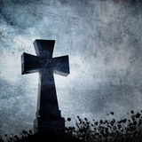 Imacross in the cemetery, halloween background Stock Images