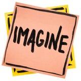 Imagínese el consejo o la nota del recordatorio imágenes de archivo libres de regalías