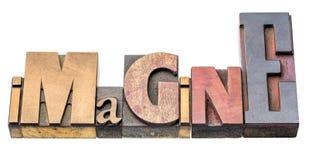 Imagínese - el extracto aislado de la palabra en el tipo de madera fotografía de archivo