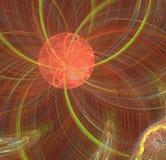 Image étrangère fantastique orange du soleil de fractale abstraite Image stock