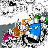 Image étrange de graffiti avec le bidon Photographie stock libre de droits
