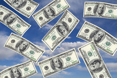 Image of 100 dollar. Bills in the air Stock Photo