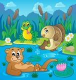 Image 2 de thème de faune de rivière Photo libre de droits