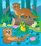 Image 3 de thème de faune de rivière Photo stock